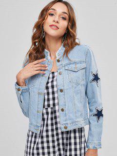 Beaded Star Patch Denim Jacket - Sky Blue L
