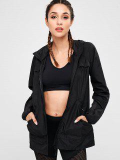 Eyelet Panels Hooded Jacket - Black L