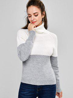ZAFUL Two Tone Turtleneck Sweater - Gray Cloud S