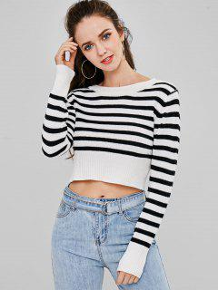 ZAFUL Back Tied Stripe Sweater - Multi M