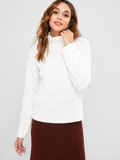 ZAFUL Turtleneck Cable Mixed Knit Sweater - White M