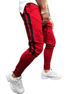 Snap Buttons Striped Jogger Pants - Red M