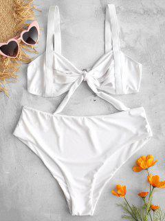 Geraffte Verknotete Bralette Bikini Set - Weiß L
