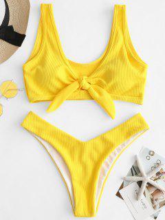 ZAFUL Ribbed Knot Tank Bikini Set - Rubber Ducky Yellow L