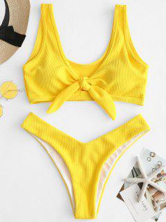 ZAFUL Ribbed Knot Tank Bikini Set - Rubber Ducky Yellow S
