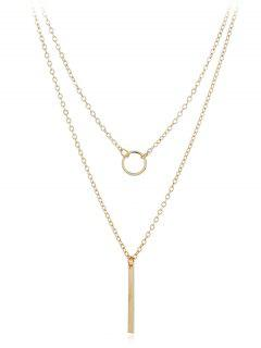 Geometric Shape Layer Pendant Necklace - Gold