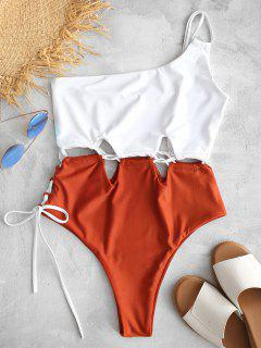 ZAFUL Lace-up One Shoulder Swimsuit - White M