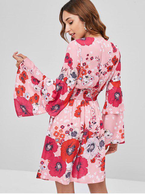 Vestido con manga de campana floral fruncida - Multicolor M Mobile