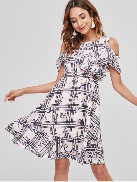 latest Flower Plaid Cold Shoulder Flounce Dress - MULTI M Mobile