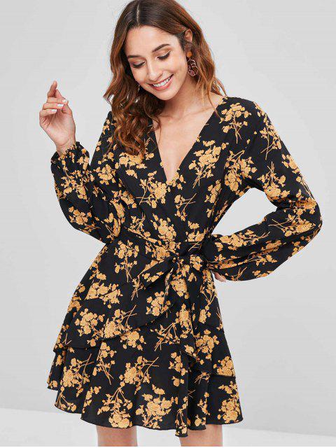 sale Floral Ruffle Surplice Dress - YELLOW L Mobile