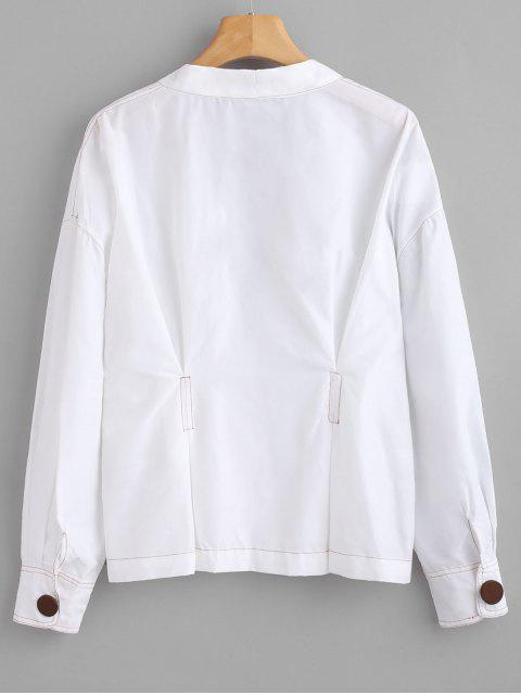 lady One-button Pleated Top - WHITE S Mobile