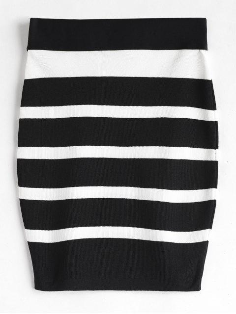 new Striped Knit Bodycon Skirt - BLACK ONE SIZE Mobile