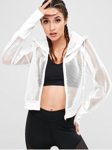 outfits Mesh Armhole Hooded Jacket - WHITE S Mobile