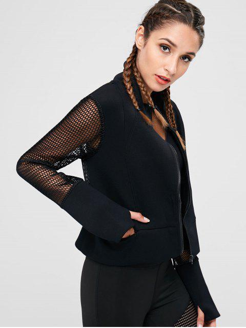 trendy Fishnet Zipper Crop Jacket - BLACK M Mobile