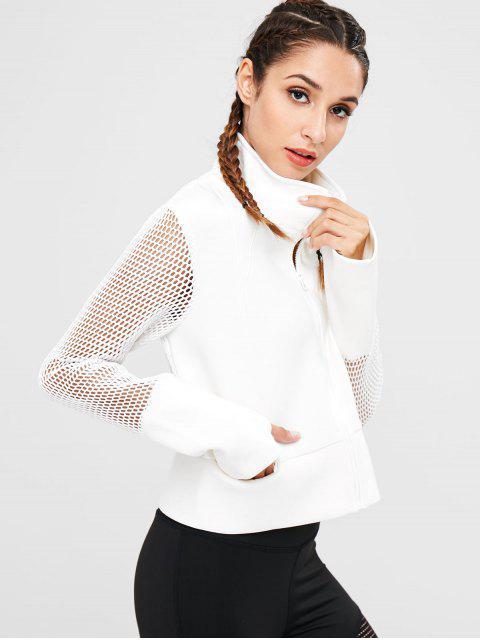 shops Fishnet Zipper Crop Jacket - WHITE L Mobile