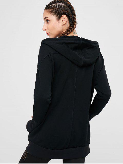 Chaqueta con capucha manga raglán - Negro M Mobile