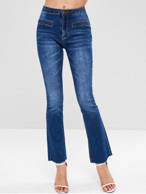 ZAFUL con cordones Bootcut Raw Hem Jeans - Azul Oscuro de Denim M Mobile