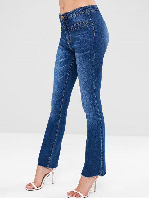 ZAFUL con cordones Bootcut Raw Hem Jeans - Azul Oscuro de Denim L Mobile