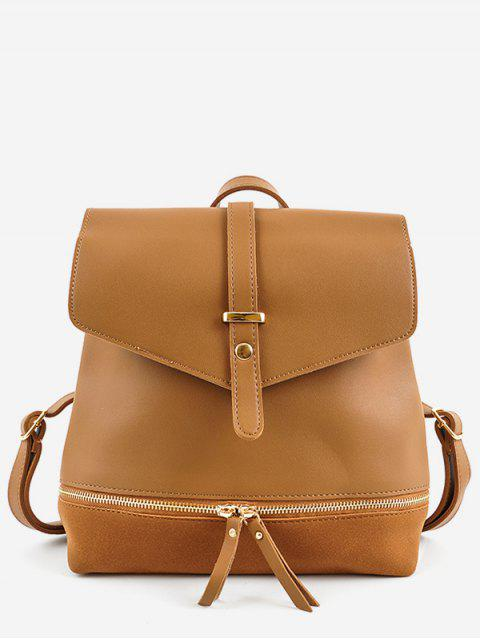 latest Zip Pocket PU Leather Panel Backpack - BROWN  Mobile