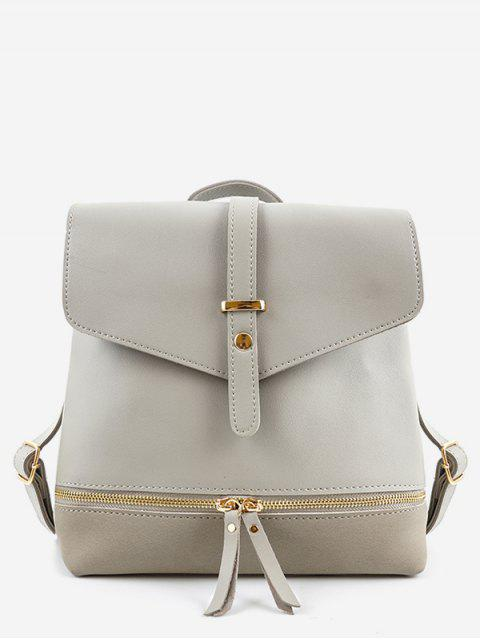 trendy Zip Pocket PU Leather Panel Backpack - GRAY  Mobile
