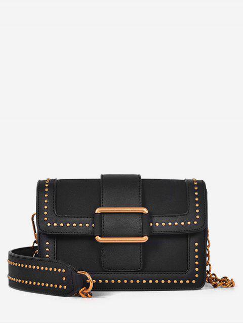 Hebilla Panel Rivet Crossbody Bag - Negro  Mobile