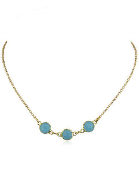 Runde Faux Edelstein Anhänger Halskette - Blau  Mobile