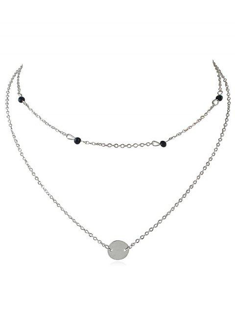 new Layered Disc Pendant Choker Necklace - SILVER  Mobile