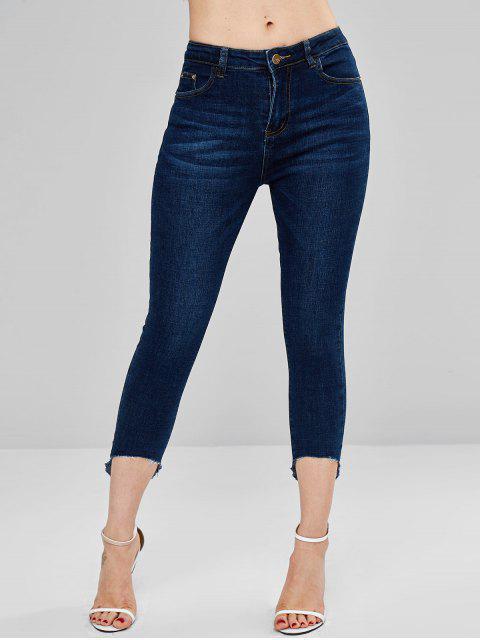 shop Raw Hem Dark Wash Skinny Jeans - DENIM DARK BLUE L Mobile