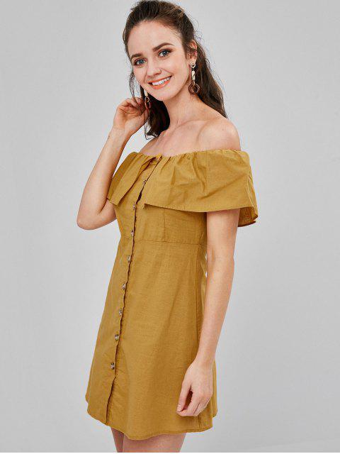 Mini-Robe Boutonnée à Epaule Dénudée - Orange d'Or M Mobile
