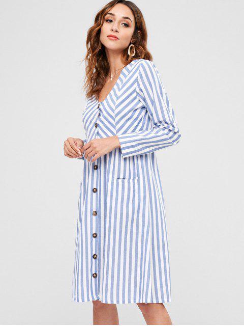 Vestido de bolsillo con botones a rayas - Azul M Mobile