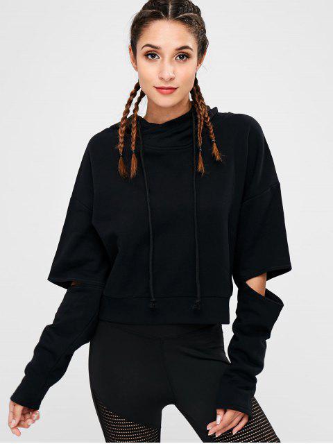 fancy Cut Out Hoodie - BLACK L Mobile