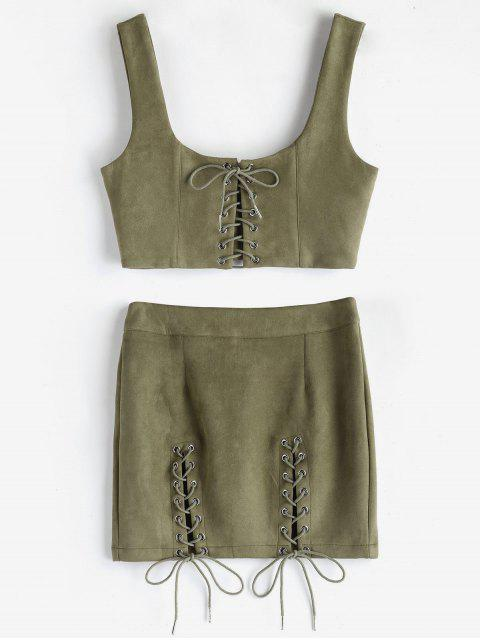 womens Faux Suede Crop Top and Skirt Co Ord Set - KHAKI M Mobile