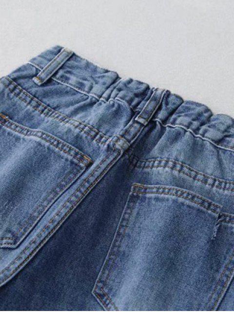 Vaqueros Mom de angustia de cintura alta - Azul M Mobile