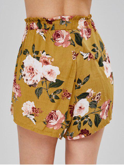 Short Décontracté Fleuri Imprimé à Taille Haute - Moutarde XL Mobile