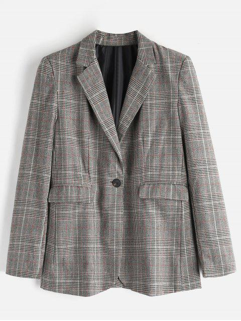 new Boyfriend Checked One Button Blazer - MULTI L Mobile