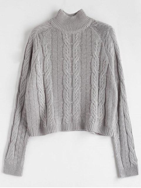 Pull col haut en tricot - Gris Taille Unique Mobile