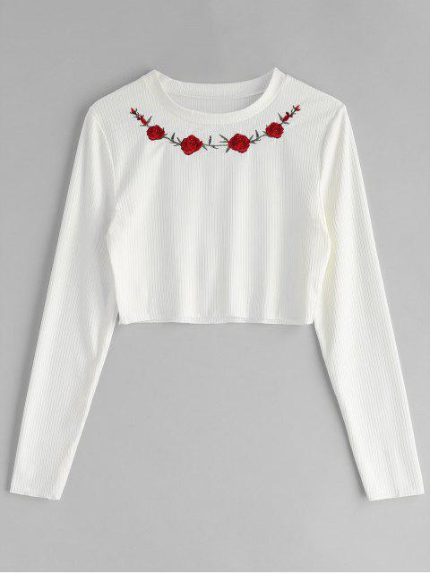 Floral besticktes, geripptes T-Shirt - Weiß S Mobile