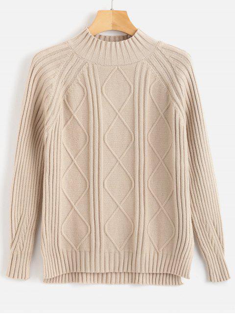 Suéter alto acanalado con cuello alto - Blanco Almendra Talla única Mobile