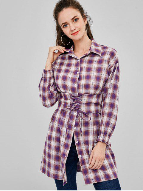 ladies Button Up Plaid Long Belted Shirt - MULTI S Mobile