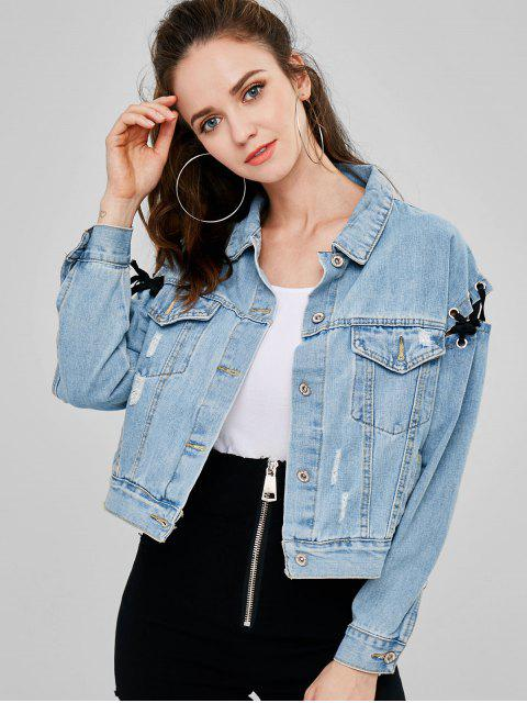 Ripped Lace Up Denim Jacket - Azul M Mobile