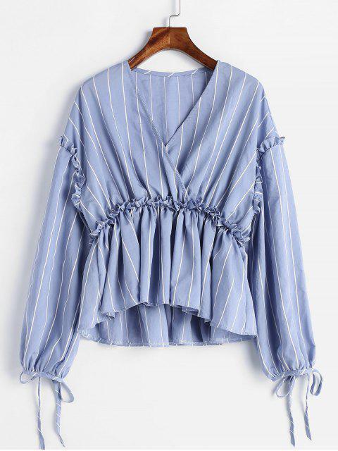 Rüschen gestreifte Peplum Bluse - Blaugrau M Mobile