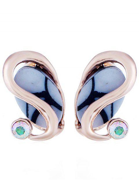Strass boucles d'oreilles en alliage de gemme artificielle - Or de Rose  Mobile