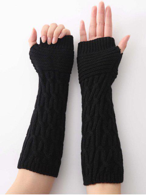 shop Winter Irregular Striped Knitting Gloves - BLACK  Mobile