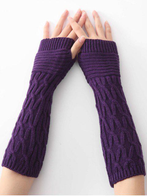 Gants de tricot à rayures irrégulières d'hiver - Pourpre   Mobile