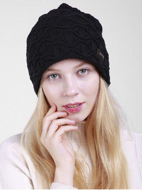 Bonnet en laine tricoté à motif irrégulier - Noir  Mobile