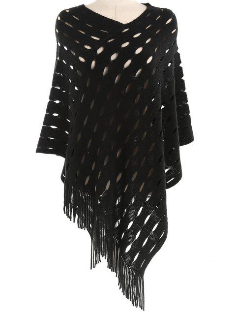 outfits Stylish Hollow Out Fringed Shawl Scarf - BLACK  Mobile