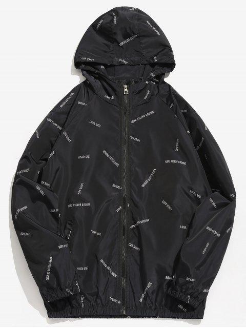Chaqueta con capucha impermeable con estampado de letras - Negro XL Mobile