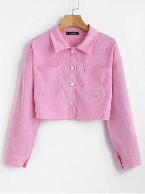ZAFUL Corduroy Pocket Kurz geschnittenes Boxy Shirt - Rosa M Mobile