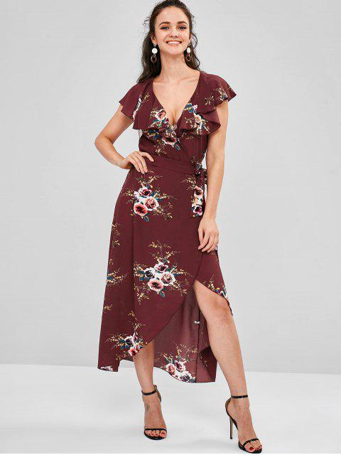 unique Wrap Foral Printed Maxi Dress - RED WINE L Mobile
