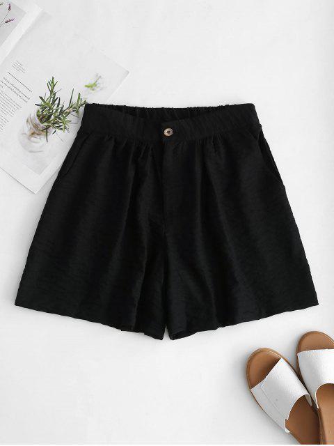 Hoch taillierte Wide Leg Shorts - Schwarz M Mobile